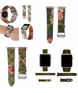 Apple Watch LV Gucci Grid Pattern Leather Replacement Band 40mm 44mm Ser... - $9.49+