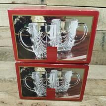 Gorham Lead Crystal Set of 4 O'Tannenbaum Handled Mugs Brand New W Box - $59.35