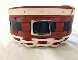 """Longaberger Santa Belly Button Round Basket Protector 6.5"""" Red Christmas - $88.19"""