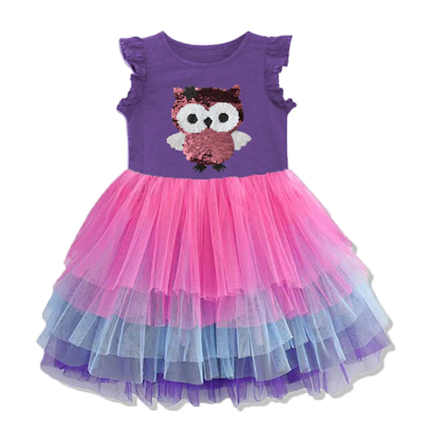 Primary image for NEW Owl Flip Sequin Girls Sleeveless Tutu Dress 3-4 4-5 5-6 6-7 7-8