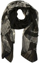 Calvin Klein Women's Graphic Floral Chiffon Long Scarf (Black/White,  On... - $39.90