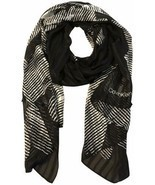 Calvin Klein Women's Graphic Floral Chiffon Long Scarf (Black/White,  One Size) - $29.60