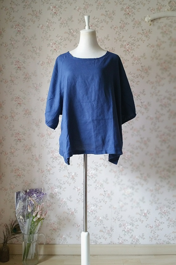 PLUS SIZE linen tunic Over-sized Blue tunics Summer Natural linen clothing NWT