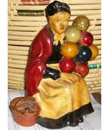 Vintage Carnival Chalkware Old Balloon Seller Signed - $225.00