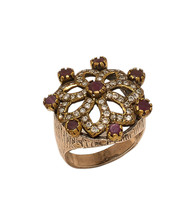 925 Sterling Silver Beautiful Ring With Ruby Zarkan India Vintage Jewelry - $214.13