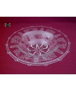 "Paden City Gazebo Etch Crystal 13"" Flat Edge Bowl - $35.95"