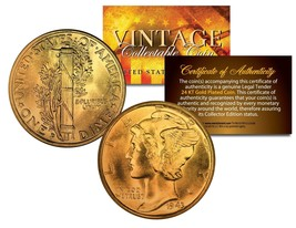 Lot of 2 MERCURY Silver Dimes US Coins 24K GOLD PLATED Winged Liberty w/... - $13.06