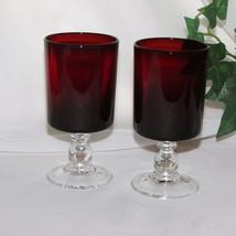 VINTAGE RUBY RED WINE SHERRY GLASSES 2 CLEAR BALL STEM GOBLETS FRANCE LU... - $11.25