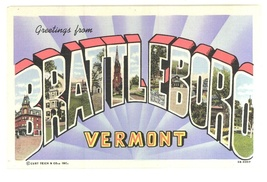 Brattleboro Vermont vintage linen postcard 1957 - $4.50