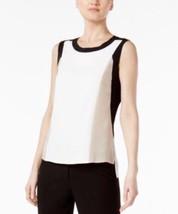 Calvin Klein Colorblocked High-Low Top Khaki, Medium 4316-4 - $32.39