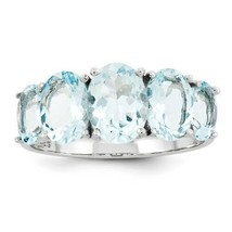 STERLING SILVER GENUINE NATURAL 3.4 CT 5-STONE BLUE AQUAMARINE RING - SI... - $122.51