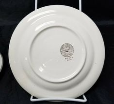 "French Saxon China Co Side Plates Set of 3 7.25"" White & Lgt Blue Pottery Salad image 4"