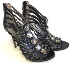 SAM EDELMAN Hampton Snakeskin Print Caged Heels Sandals Black Jewel Leather $170 - $34.99