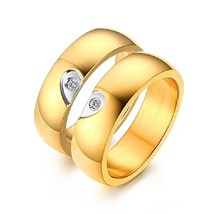 GINBL 6MM Gold Plated Men Heart Shape Titanium Couple Wedding Rings Wome... - $12.06