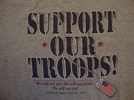 Support Our Troops! Military Support Gray T Shirt Size XL - $15.53