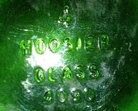 "Hoosier Glass Vase Green Swirl Design;#4090;Large 8½"" tall x 4¼"";IDEAL FOR TALL"