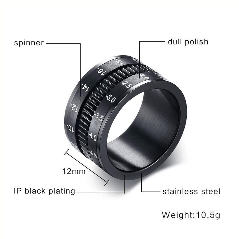 Unique Men's Rings Stainless Steel SLR Camera Lens Ring For Men Fashion Punk