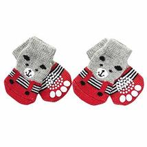 PANDA SUPERSTORE 4 Pcs Red Bear Knitted Dogs Socks Cat Socks Cute Pet Socks Dog