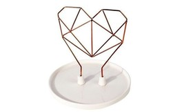 IMM Living Jewelry Holder Coxet Wire Heart Ceramic Copper Metal New in B... - $19.99