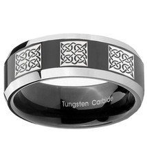 Multiple Square Celtic 8mm Two Tone Black Beveled Tungsten Band - $39.99