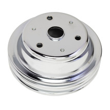 CHEVY SMALL BLOCK DOUBLE-GROOVE STEEL LONG WATER PUMP CRANKSHAFT PULLEY CHROME image 2