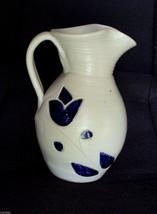 "Williamsburg Salt Glazed Pottery Pitcher Water Milk Jug Cobalt Tulip ✿ 7"" Tall  - $5.90"