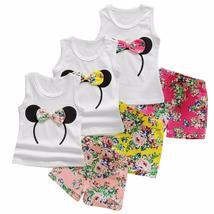 girls summer minnie vest top + bowtie shorts pants clothes - $11.98