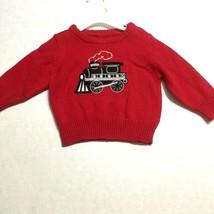 Oshkosh Baby Sweater Polar Express Train Design 9 Months Boys Red Black - $15.35