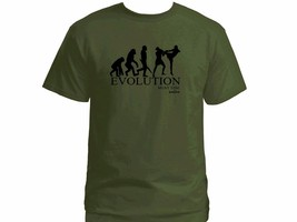 Muay Thai boxing evolution martial arts MMA 100% cotton olive green t-shirt - €16,59 EUR