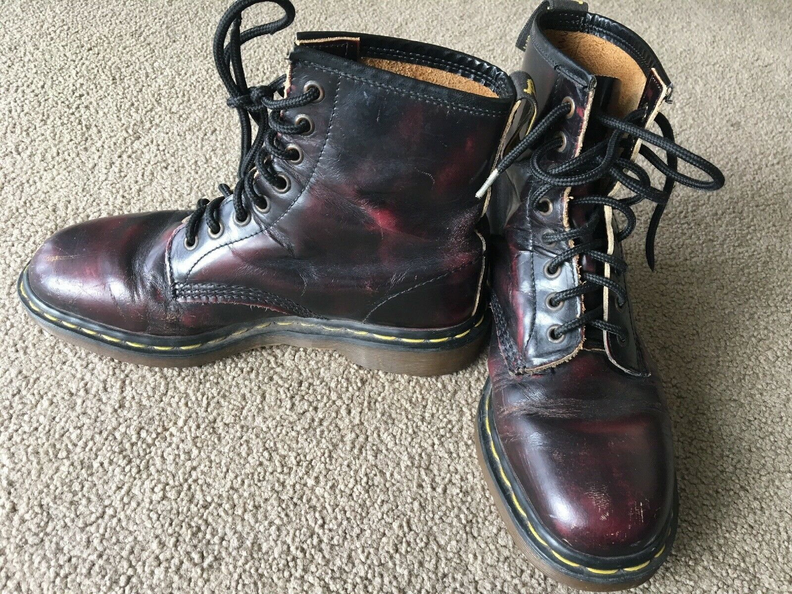 Primary image for Dr. Marten's Boots 1460 Size 7 Pascal CHERRY RED ANTIQUE TEMPERLEY 8 eye England
