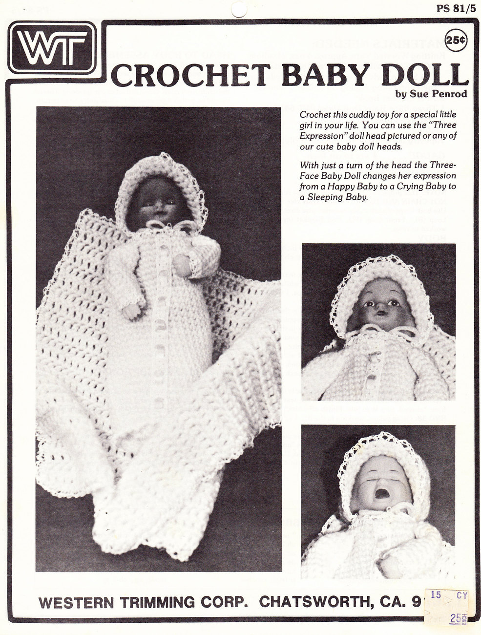 Primary image for CROCHET BABY DOLL INSTRUCTION SHEET