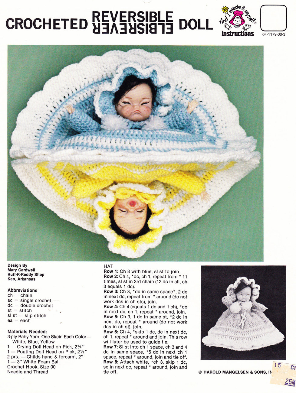 Primary image for CROCHETED REVERSIBLE DOLL INSTRUCTION SHEET