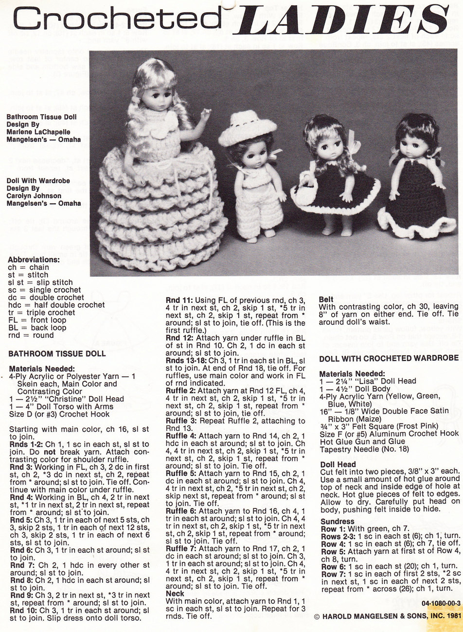Primary image for CROCHETED LADIES DOLL INSTRUCTION SHEET
