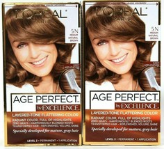 (2) L'Oreal Age Perfect By Excellence 5 N Medium Natural Brown Permanent Dye - $22.76