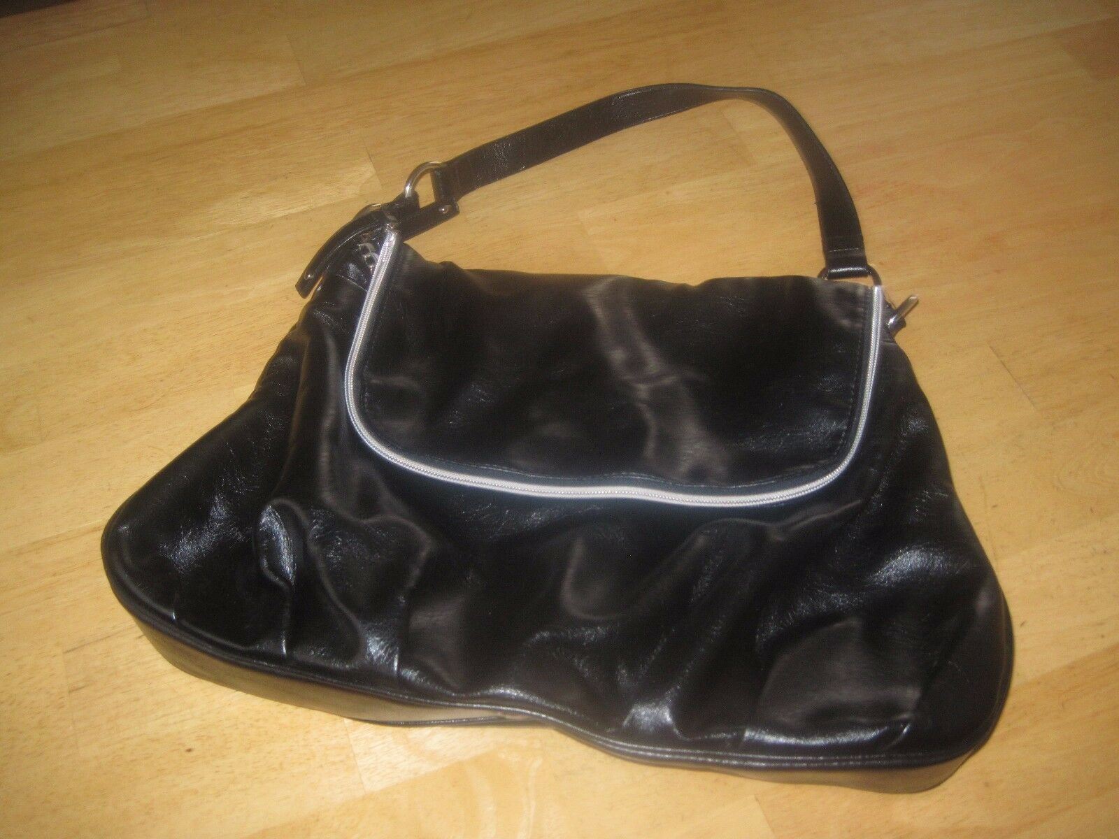 "Primary image for NINE WEST LADIES BLACK SHOULDER BAG-PVC-BARELY USED-SOFT/ROOMY-18""x23""x2.5""-NICE"
