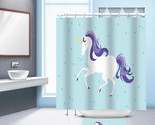 unicorn printed waterproof bathroom shower curtain with 12 plastic hooks for bath thumb155 crop