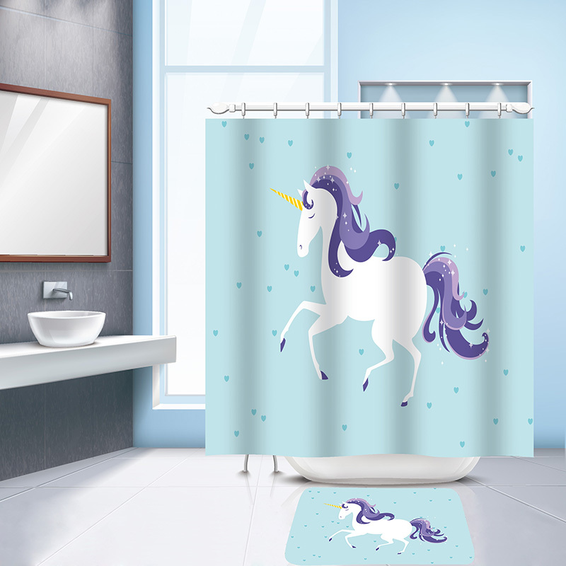 Pc 2017 trendy unicorn printed waterproof bathroom shower curtain with 12 plastic hooks for bath
