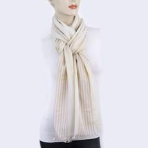 New STYLE&CO Womens Lurex Colorblock Stripe Wrap Scarf Silver Champagne - €11,93 EUR