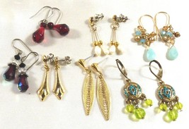 Lot of 7 fancy pretty beaded dangle charming pearl stone crystal beads e... - $19.80