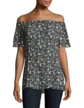MICHAEL KORS Off-The-Shoulder Safari Green Floral Print Top ( LARGE ) NW... - $39.27