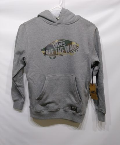 VANS OFF THE WALL BOYS SMALL PULLOVER HOODIE GRAY COTTON POLYESTER RN: 96277