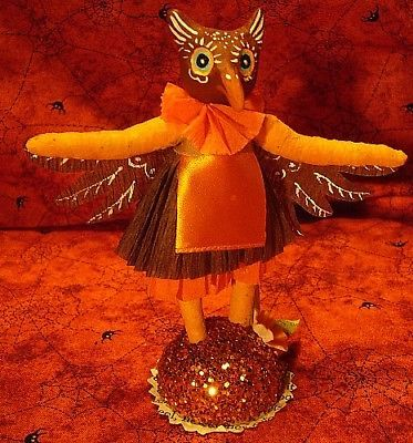 Vintage inspired Spun Cotton Paper Mache Owl Girl No. 279,Autumn Fall Halloween