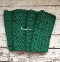 Crochet Handmade Kitchen Dish Cloths Dark Green Reusable Dishcloth Set of 4 - $22.50