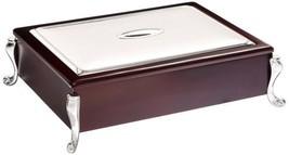 Tea Bag Organizer Storage Container Elegant Wooden Chest Tea Box Silver ... - $72.57