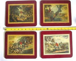FOUR (4) VINTAGE FELT BACK ENGLISH FOX HUNTING SCENE LUNCHEON PLACEMATS - $24.95
