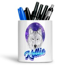 Personalised Any Text Name Ceramic Wolf Pencil Pot Gift Idea Kids Adults 11 - $12.89