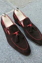 Handmade Men's Dark Brown Suede Slip Ons Loafer Tassel Shoes  image 1