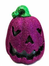 Halloween Glitter Jack-o-Lantern Purple LED Sound Activated Pumpkin 8 in... - $29.69