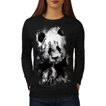 Eating Panda Face Tee Bamboo Eater Women Long Sleeve T-shirt - $14.99