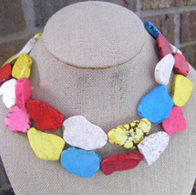 BOLD MUTICOLOR TURQUOISE FREEFORM SLAB COLORFUL STATEMENT BEADED NECKLACES - $38.60